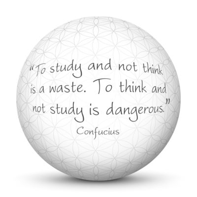 White Sphere with Confucius Quote - To study and not think is a waste. To think and not study is dangerous.