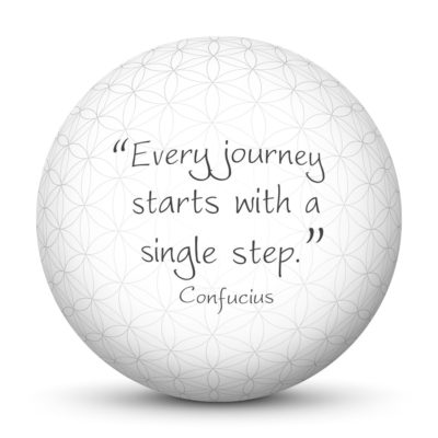 White Sphere with Confucius Quote - Every journey starts with a single step.