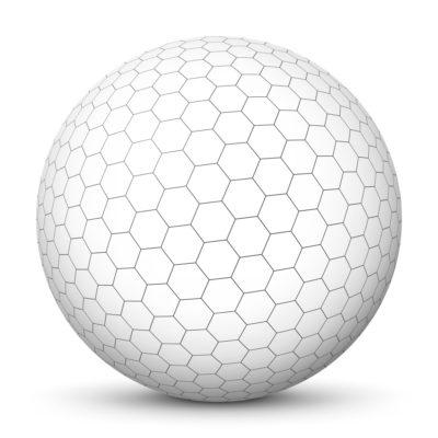 White Sphere with Gray Honeycomb Pattern on Surface