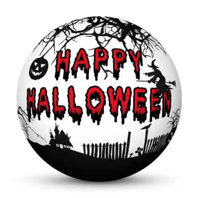 """White Sphere with Creepy Bloody """"Happy Halloween"""" Lettering and Spooky Symbols"""