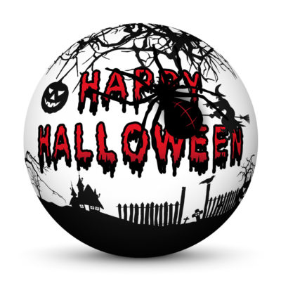 """White Sphere with Creepy Bloody """"Happy Halloween"""" Lettering and Big Black Spider"""