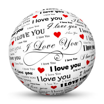 """White Sphere with """"I love You"""" Lettering in Different Font Style"""