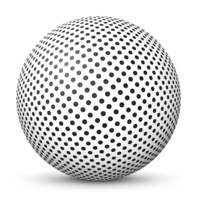 White Sphere with Black Dots Pattern on Surface