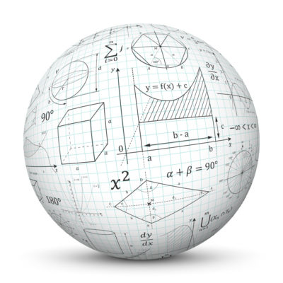 White Sphere with Graph Paper (Quad Paper) and Math and Geometric Formulas (Signs and Symbols)