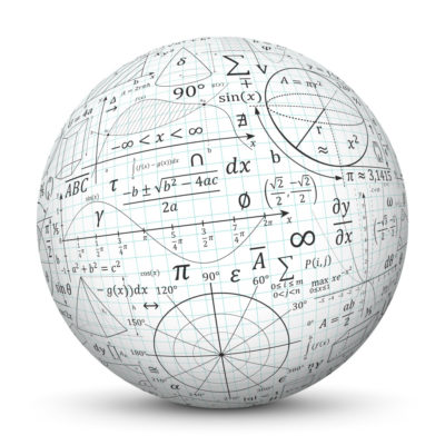 White Sphere with Graph Paper (Quad Paper) and Math Formulas (Signs and Symbols)