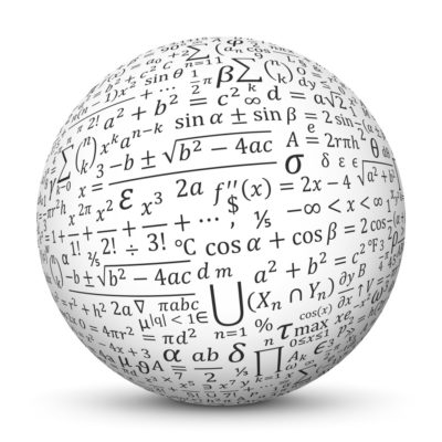 White Sphere with Mapped Math Formulas Signs and Symbols