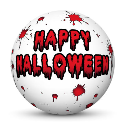 """White Sphere with """"Happy Halloween"""" Greetings and Red Blood Spatters"""