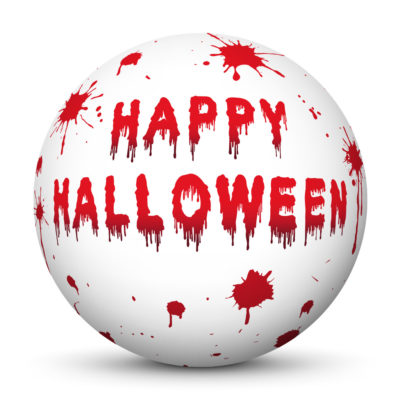 """White Sphere with Red Bloody """"Happy Halloween"""" Lettering and Drops of Blood"""