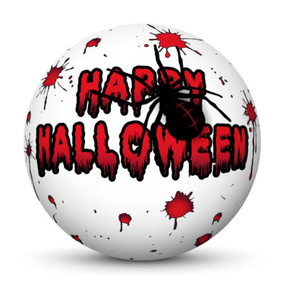 """White Sphere with Red """"Happy Halloween"""" Greetings, Blood Spatters and Big Black Spider"""