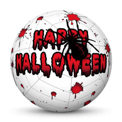 """White Sphere with Red """"Happy Halloween"""" Greetings, Blood Spatters and Big Black Spider on Cobweb"""