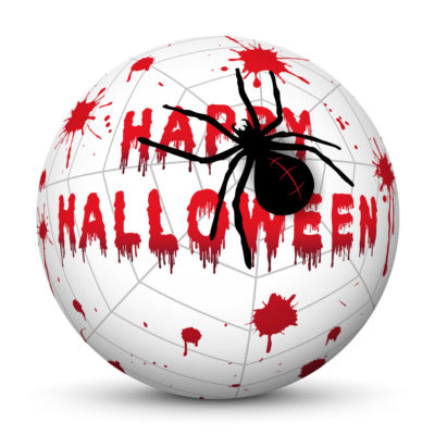 """White Sphere with Red """"Happy Halloween"""" Lettering, Blood Drops and Black Spider on Cobweb"""