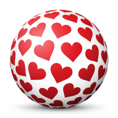 White Sphere with Red Heart Symbols/Icons on Surface