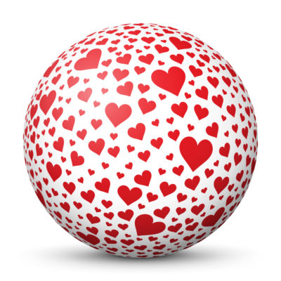 White Sphere with Lots of Small Red Heart Symbols/Icons on Surface