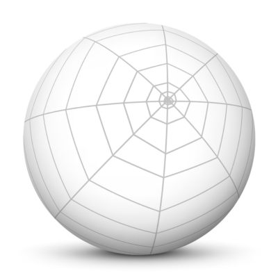 White Sphere with Spider Web (Cobweb) on Surface